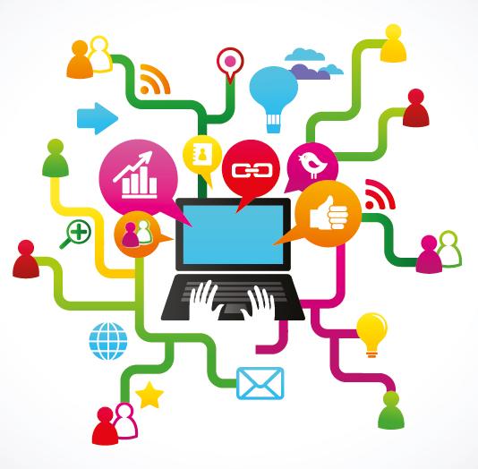 computador com vários tipos de conteúdo diferentes
