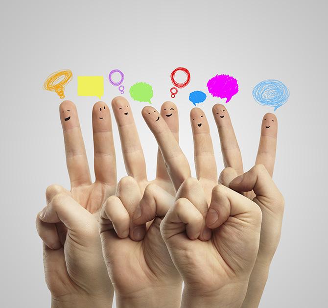 """Vários dedos """"conversando"""""""