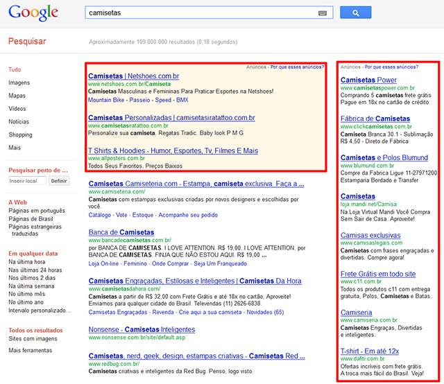 resultado de pesquisa no Google