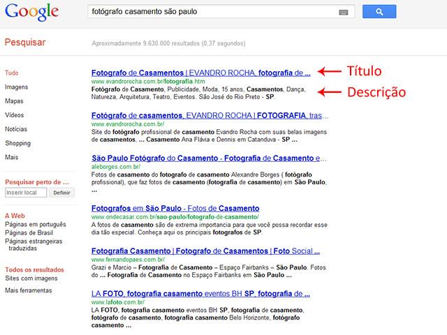 resultado de busca no Google