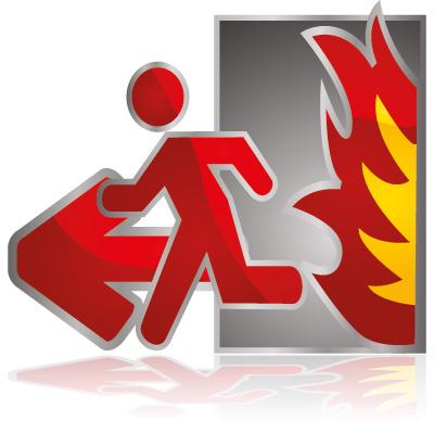 desenho de uma pessoa fugindo do fogo