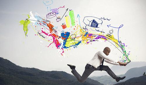 homem espalhando tinta colorida