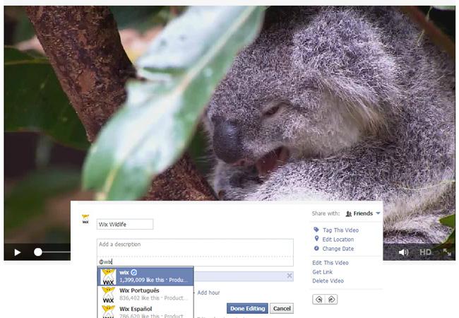 Video tag no Facebook