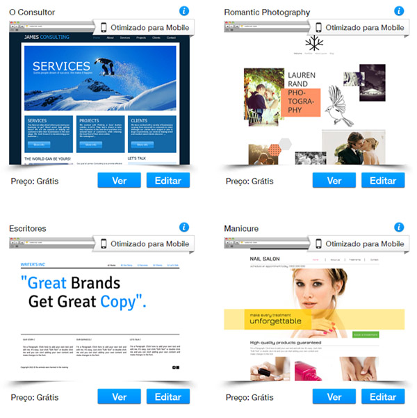 Temapltes para sites de negócios e serviços
