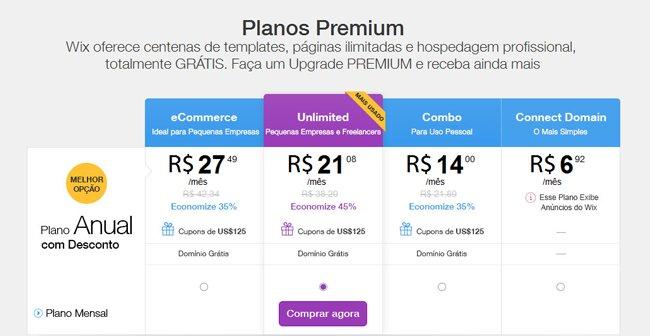 Planos Premium do Wix