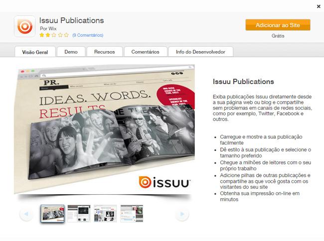 Aplicativo Issuu no Wix App Market