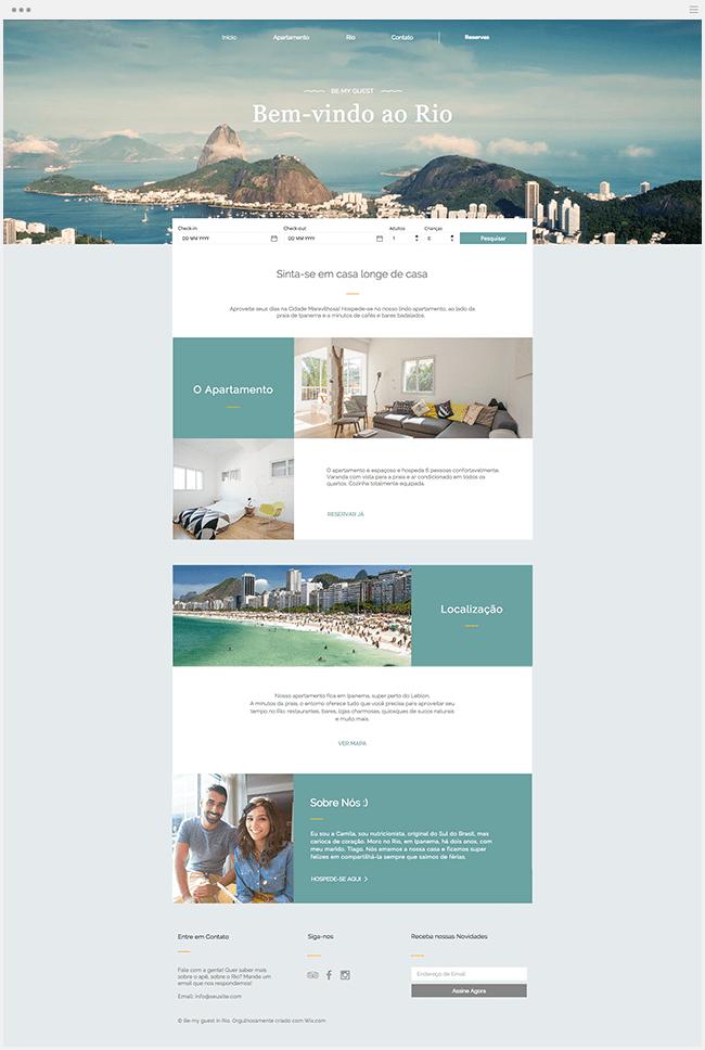 Wix Template - Aluguel de apartamento no Rio