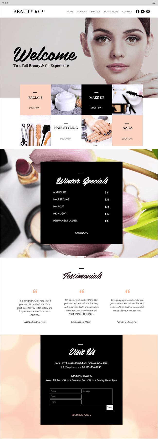 Beauty Salon Wix Website Template