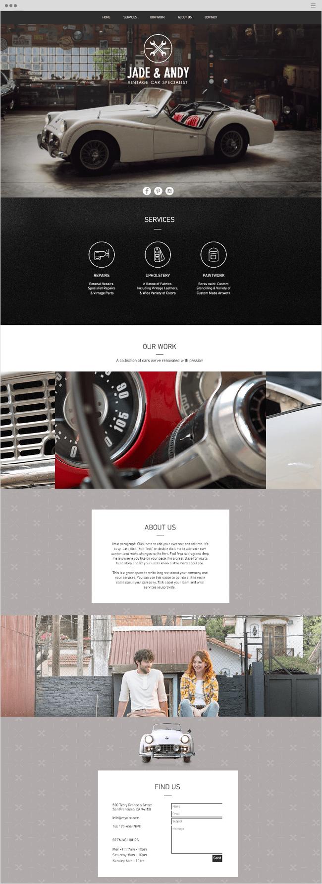 Vintage Car Garage Wix Website Template