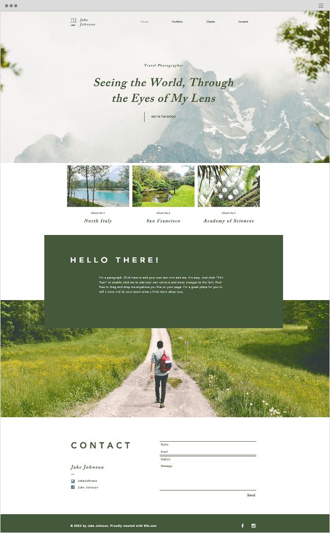 Travel Photographer Wix Website Template