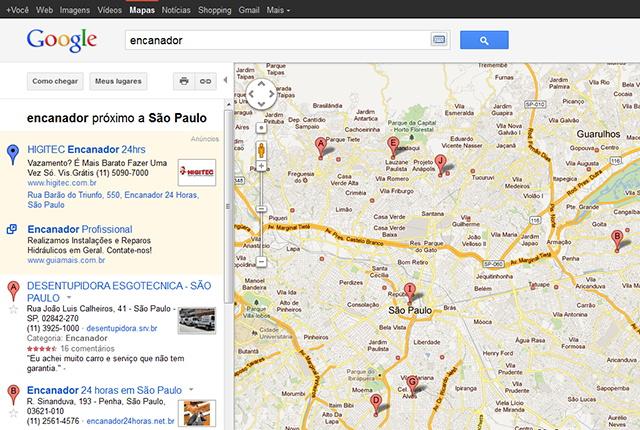 resultado de pesquisa no Google Maps