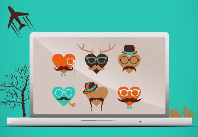 computador com vários ícones