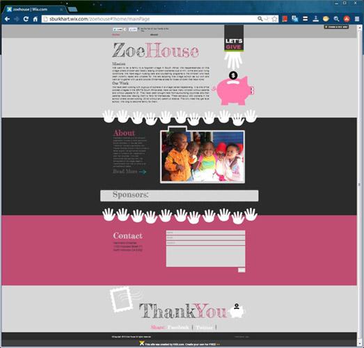 Site de página única com faixas horizontais