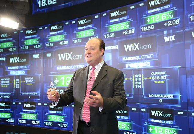 VP da NASDAQ OMX, David Wicks, no seu discurso oficial sobre o IPO do Wix.