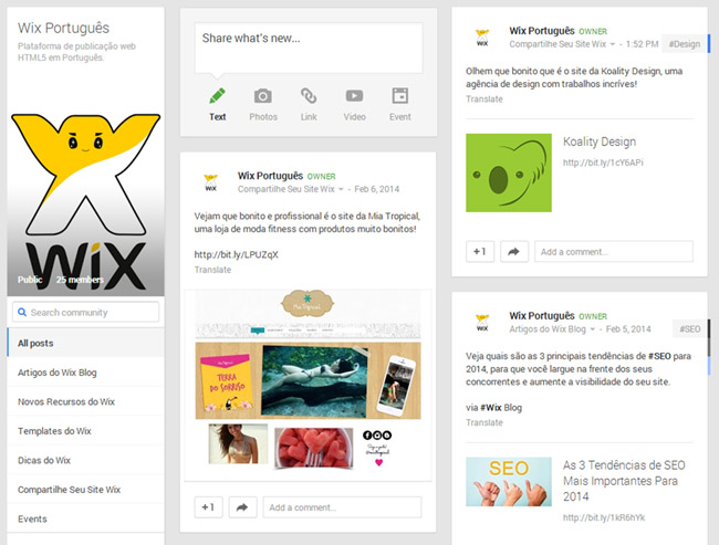 Comunidade do Wix no Google Plus