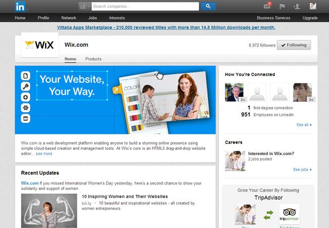 Wix no LinkedIn