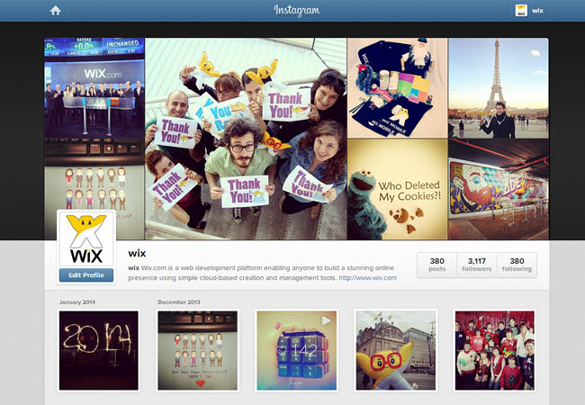Wix no Instagram