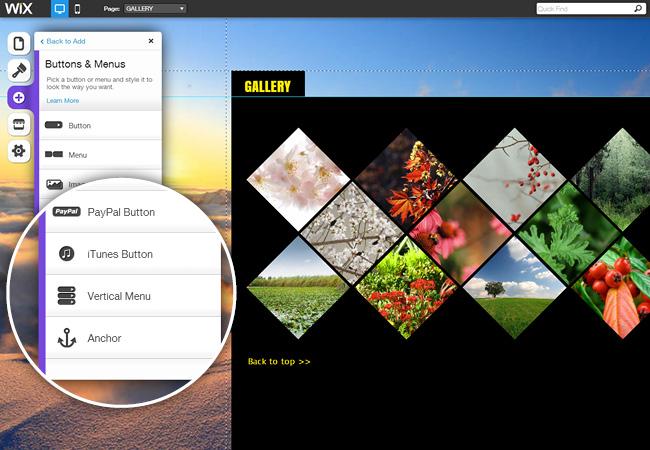 Editor HTML5 do Wix