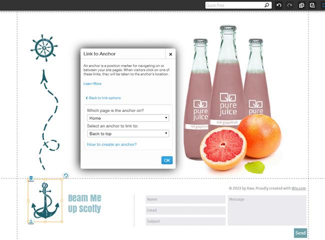 Recurso Âncoras no Editor HTML5 do Wix