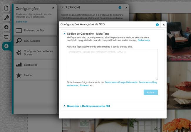 Meta Tags Avançadas no Editor Wix