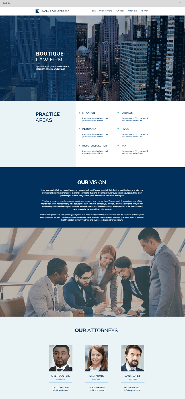 Boutique Law Firm Wix Website Template