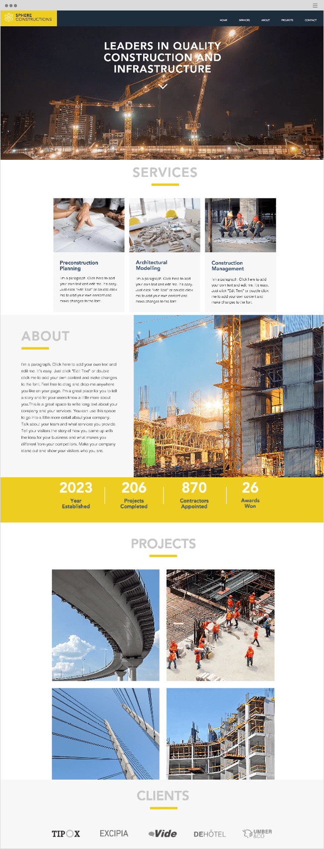 Construction Company Wix Website Template