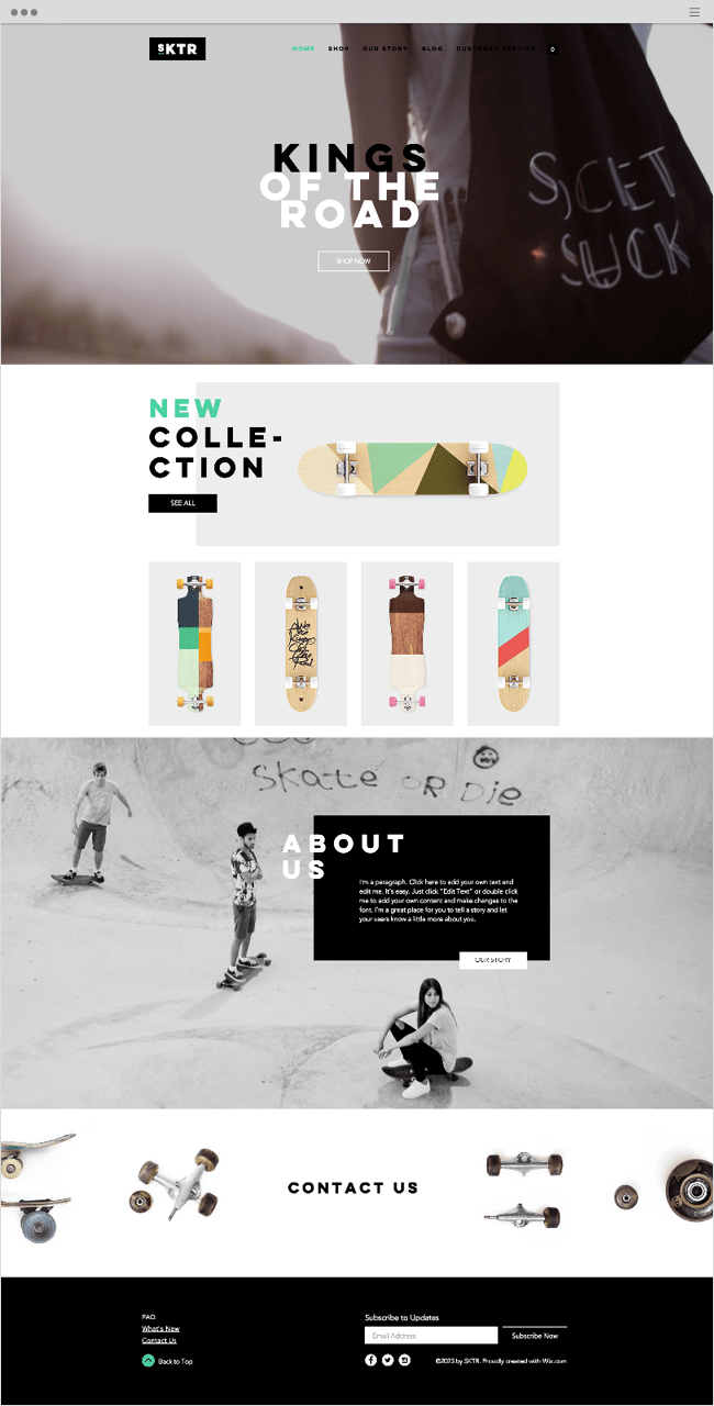 Skateboard Shop Wix Website Template