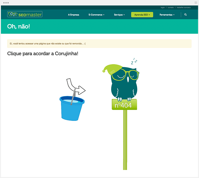 Página de erro 404: exemplos divertidos