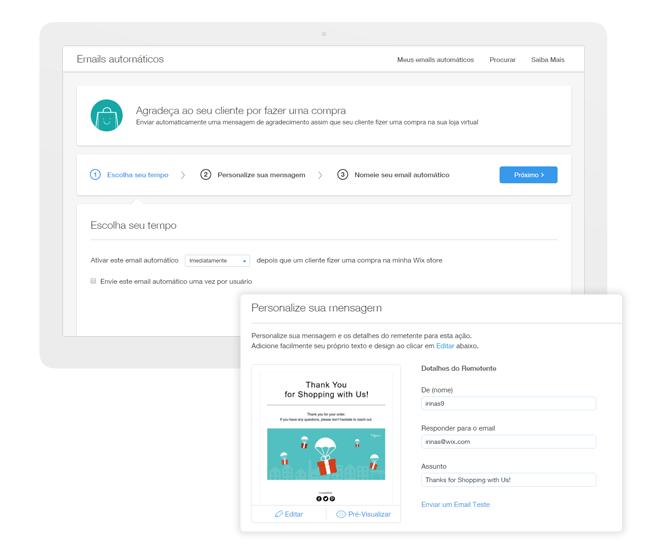 Criar e-mails automáticos