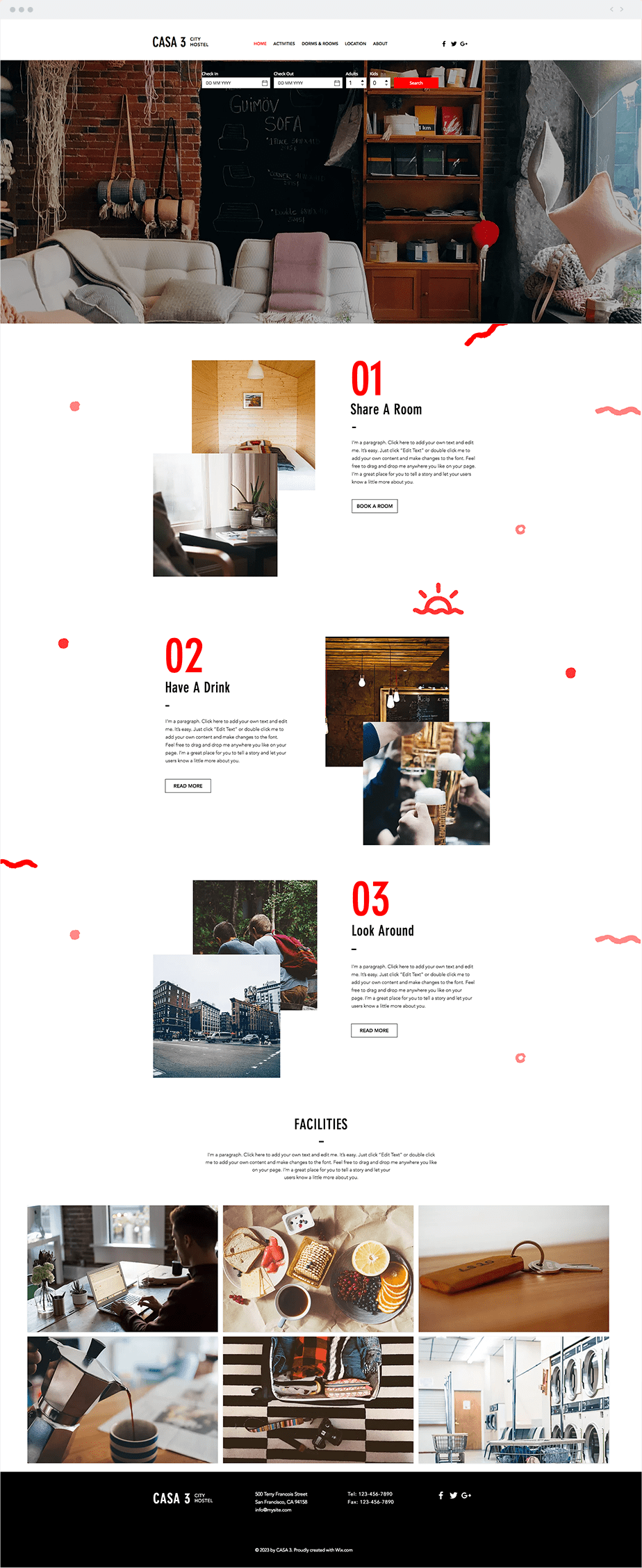 Template Wix City Hostel