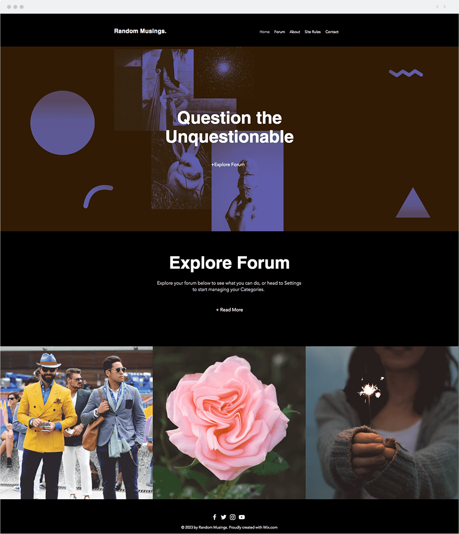 Template Wix Social Forum