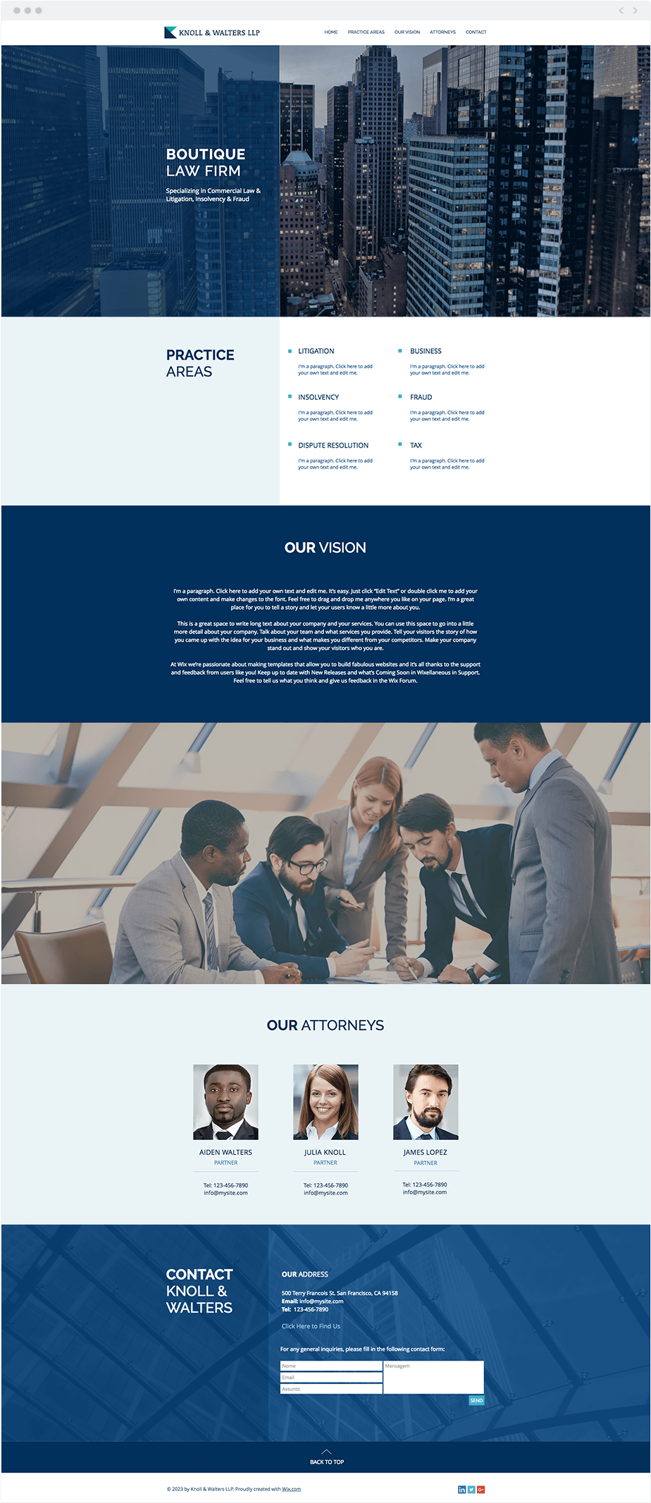Template Wix Boutique Law Firm