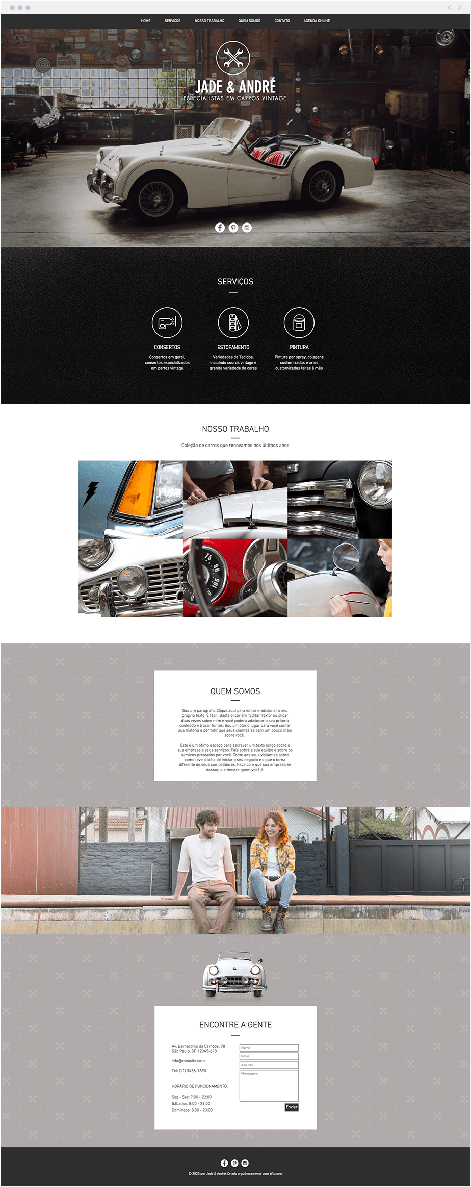 Template Wix Carros Vintage