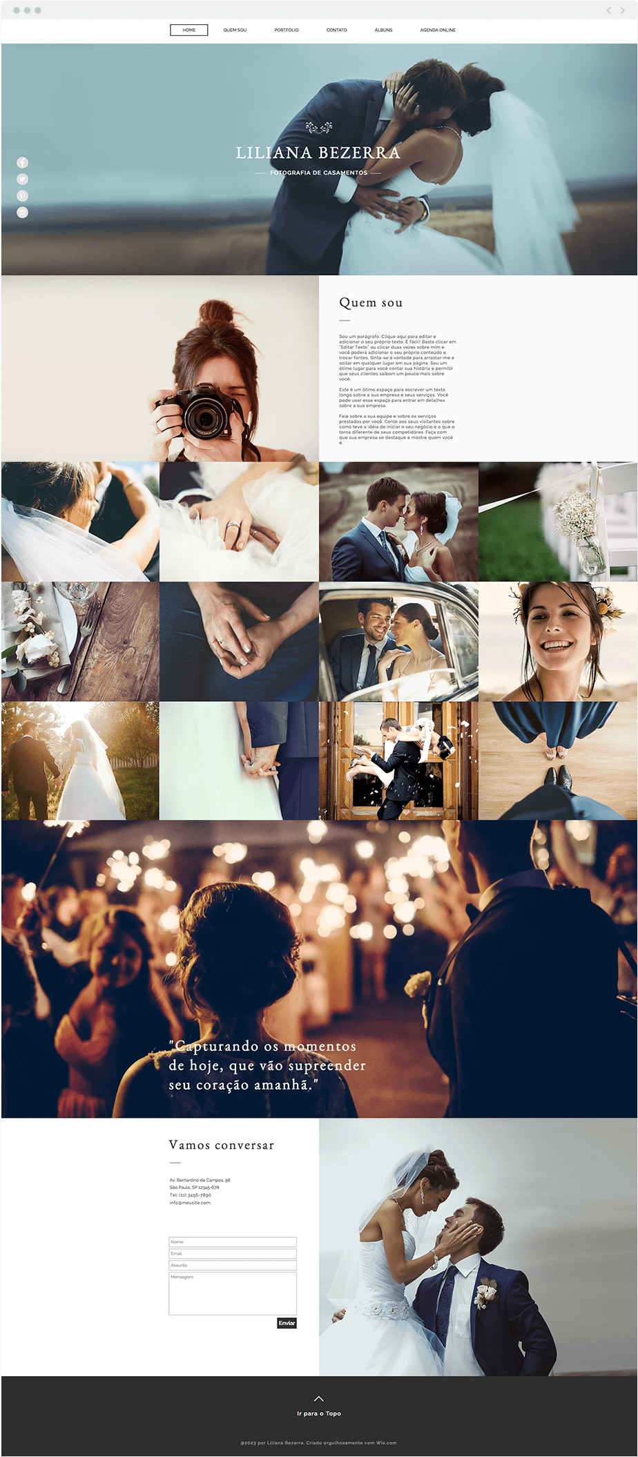 Template Wix Fotografia de Casamento