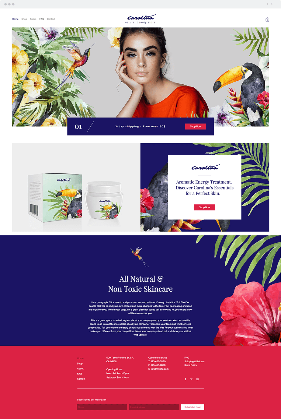 Template Wix Natural Beauty Store