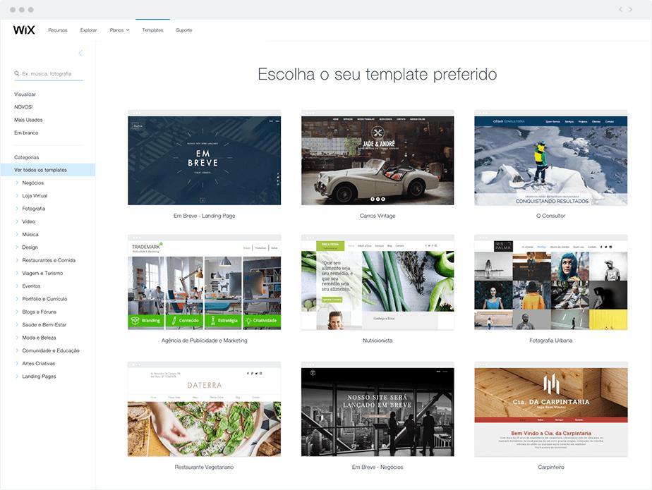 Como Criar um Site do Zero: Escolha um template