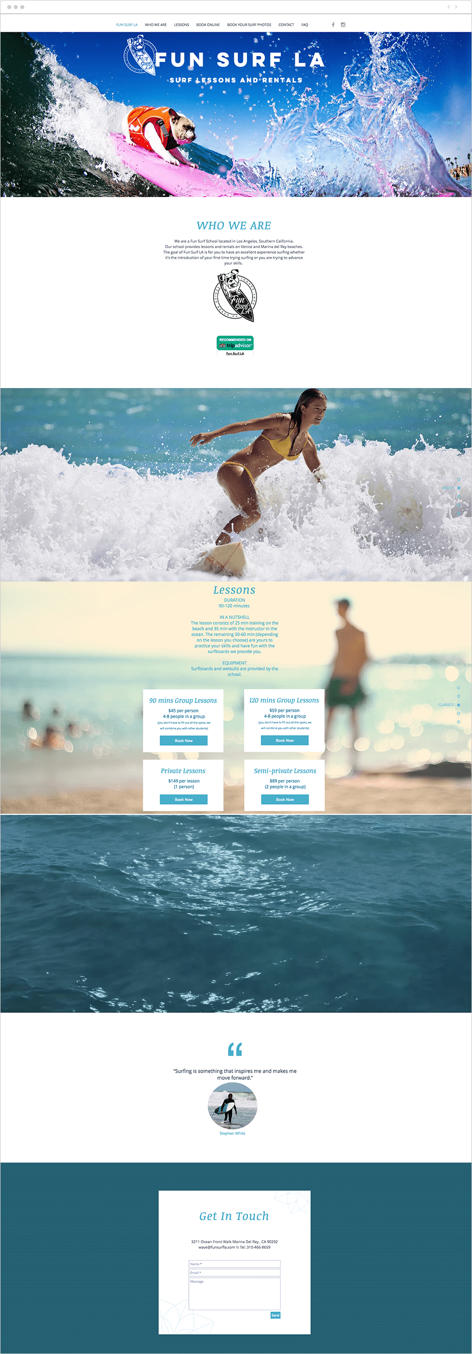 Site com Wix Bookings: Fun Surf LA