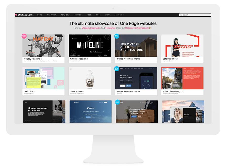Onde Nossos Melhores Designers Encontram Inspiração na Internet: One Page Love