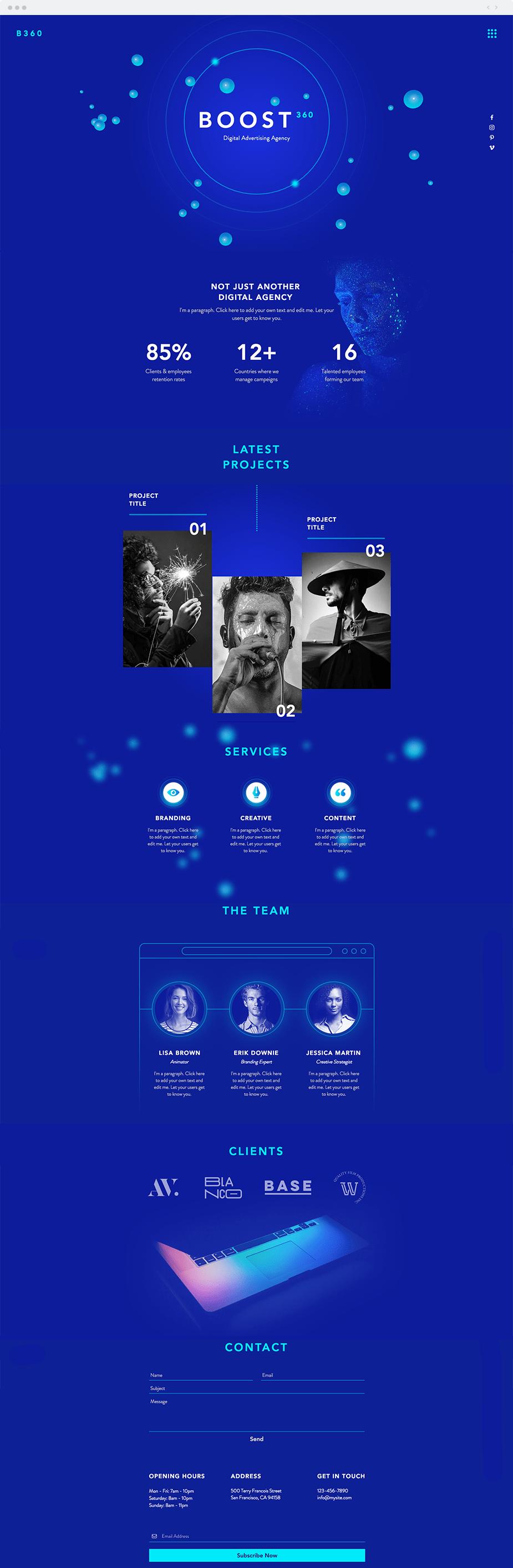 Template Wix para Site de Agência de Publicidade Digital